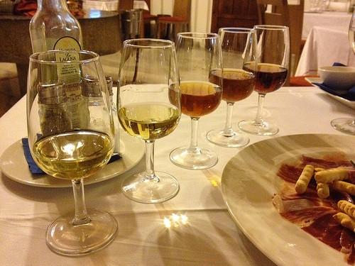 Degustace různých druhů sherry
