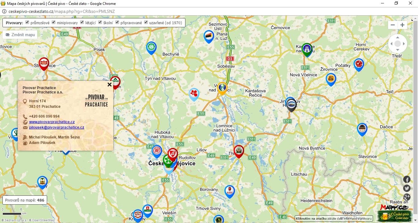 Mapa českých pivovarů - České pivo - České zlatu
